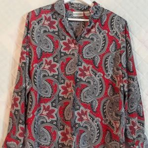 Vintage Alfred Dunner Gray/Red Paisley Button Up